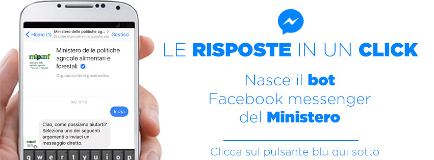 Mipaaf Social: attivo su Facebook Messenger il servizio di risposta in tempo reale
