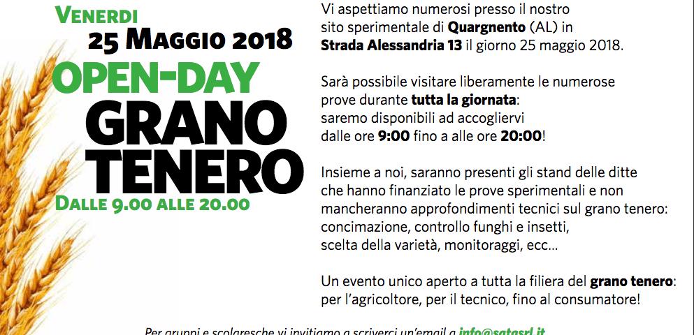 Open-Day Grano Tenero il 25 maggio al sito sperimentale della Sata